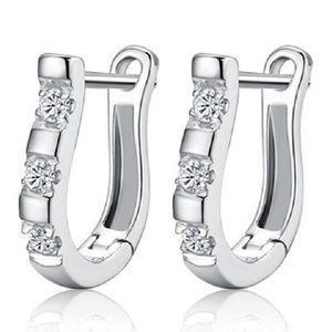 White Topaz Silver U Shaped Pierced Earrings